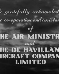 Main title from The World Owes Me a Living (1945) (6). We gratefully acknowledge the co-operation and assistance of the Air Ministry and the De Havilland Aircraft Company Limited