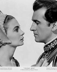 Jean Simmons (as Young Bess) and Stewart Granger (as Thomas Seymour) in a photograph from Young Bess (1953) (1)