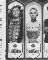 Charles Laughton (as King Henry VIII), Jean Simmons (as Young Bess), Stewart Granger (as Thomas Seymour) and Deborah Kerr (as Catherine Parr) in a Spanish poster for Young Bess (1953) (1)