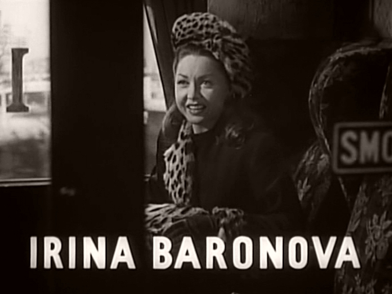 Main title from Train of Events (1949) featuring Irina Baronova