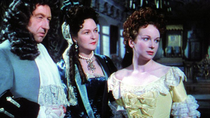 The Elector Ernest Augustus (Frederick Valk), Knesbeck (Jill Balcon) and Sophie Dorothea (Joan Greenwood) look pensive in Saraband for Dead Lovers
