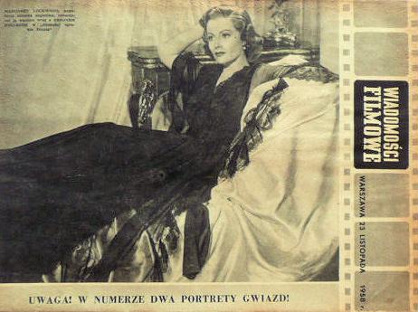Wiadomosci Filmowe magazine with Margaret Lockwood.  1958.  (Polish)