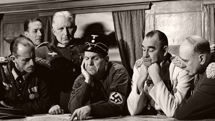 Muller (Will Hay), in Nazi uniform, in The Goose Steps Out (1942)