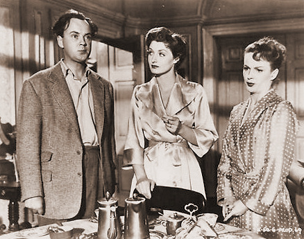 Derek Farr (as Bruce Banning), Helen Cherry (as Mary Banning) and Joan Greenwood (as Sabina Pennant) in a photograph from Young Wives' Tale (1951) (7)